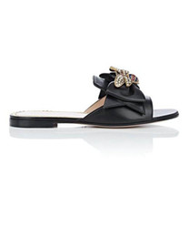 Chinese  new arrival 2019ss womens fashion Black Leather Sandals with brasstone metal bee and self-bow size euro 35-42 manufacturers