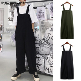 Wide Legs Jumpsuits Australia - Streetwear 2019 Jumpsuits Male Bottom Baggy Jumpsuits Men Wide Legs Pants Loose Fit Overall Coveralls Playsuits 5XL Trousers