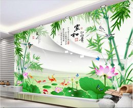 lotus flower room decor NZ - WDBH 3d room wallpaper custom photo Bamboo lotus flower fish tv background home decor living room 3d wall murals wallpaper for walls 3 d