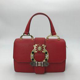 Red shining handbag online shopping - Designer handbags New Fashion Women Leather Tote Bag Handbag with Top Hand and Strap with Shine Diamond