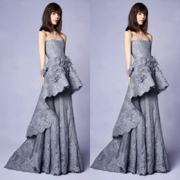 bfb07fb2f66 Marchesa Resort 2019 Collection Long Grey Lace Evening Gown With 3d Floral  Embellishments Strapless Neckline Party Prom Gowns