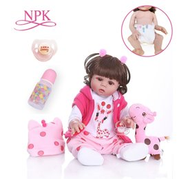 silicone puppet Australia - Curly hair 48CM bebe doll reborn toddler girl doll in pink dress full body soft silicone realistic baby Bath toy waterproof