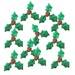 $enCountryForm.capitalKeyWord Australia - 100pcs pack Christmas Tree Decoration Supplies Craft 100pcs 3cm Red Fruit with Green Leaves DIY Art Fabric Accessories