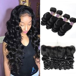 Discount color human hair bundles closure - Indian Hair Body Wave Loose Wave Peruvian Human Hair Bundles With Closure Brazilian Water Wave Hair Weaves 4pcs With 13*