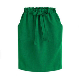 $enCountryForm.capitalKeyWord NZ - New Spring Summer Midi Skirts Womens Cotton Linen Casual High Waist Package Hip Skirt Bow Loose Pencil Skirt Black Green
