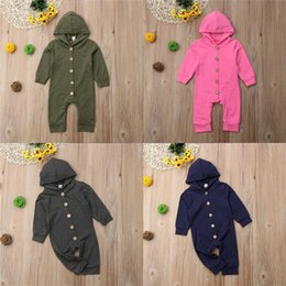 $enCountryForm.capitalKeyWord Australia - baby kid clothes 4 colors solid color single-row buckle Long sleeves hooded Romper jumpsuits crawling clothes kids designer clothes JY578