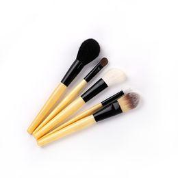 $enCountryForm.capitalKeyWord NZ - Makeup brush set wooden handle 5 loose powder eyeshadow suit set animal hair multi-function beauty tool to send cosmetic bag