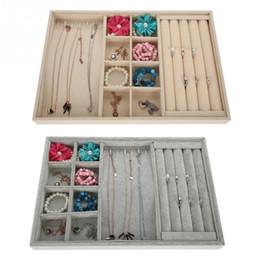 $enCountryForm.capitalKeyWord Australia - Jewelry Packaging Display Gray Soft Velvet pendant Jewelry Earring Necklace Pendant Bracelet Tray Holder Case