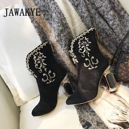 111c44dd66a240 Black Suede Jeweled High Heels Ankle Boots Women Genuine leather Zipper  Winter Shoes Luxurious Rhinestone Embroidery Short Boots