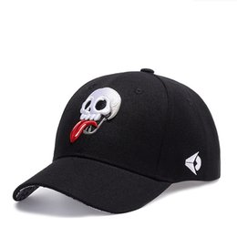 Skull Cap Ball NZ - new fashion curved visor for man and woman street dance cap ball cap skull embroidery free shipping