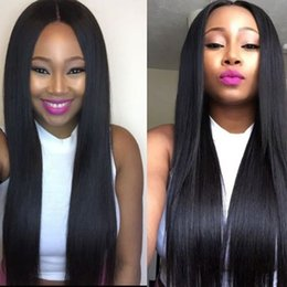 free human hair wigs 2019 - Lace Front Human Hair Wigs Pre Plucked With Baby Hair Peruvian Straight Lace Frontal Wig For Black Women Free Shipping d