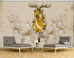 $enCountryForm.capitalKeyWord NZ - 2019 New 3d Wallpaper New Chinese-style European and American style sika deer Digital Printing HD Decorative Beautiful Wall paper