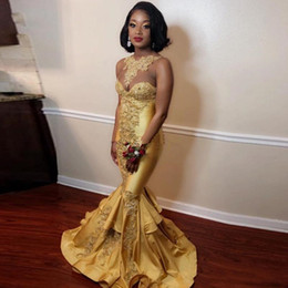 Ruffled Bottom Dresses Australia - Gold Mermaid African Prom Dresses Jewel Neck Lace Appliques Formal Party Gowns Satin Ruffles Bottom Special Occasion Dress Plus Size