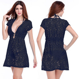 129b6c28e3d34 Ring Center Lace Beach Tunic 2019 Deep V-neck Beach Cover Ups Neck-tie Women  Beachwear Sexy Long Black Lace Beach Dress S-36