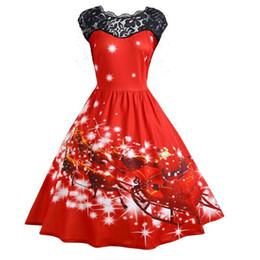 0ac6577fbbb38 Wipalo 2018 Christmas Plus Size Women S Lace Stitching Slim Print Large  Swing Dress Sleeveless O Neck Party Dress Vestidos Robes