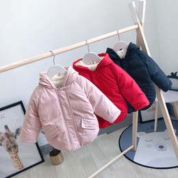 Parkas For Winter Australia - good quality Girls Winter Coat Parkas Children's Winter Cotton Hooded Thick Velvet Warm Jacket for 2-5 years New Year Clothes Down