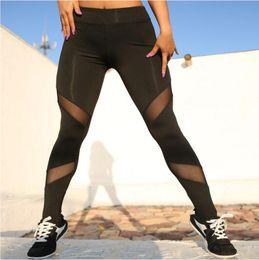 942845f0e0f5 Mesh Leggings 2019Women Plus Size Fitness Workout Activewear High Waist Pants  breathable Patchwork Push Up Legging