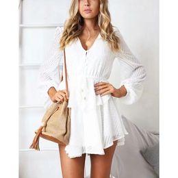 $enCountryForm.capitalKeyWord Australia - Ruffle Layered Long Sleeve Jumpsuit Romper Ruffles Women 2019 Button White Lace Up Romper Sexy Streetwear Mesh Playsuit