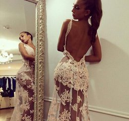 $enCountryForm.capitalKeyWord Australia - Sexy Backless 2018 Prom Dresses Sheer Lace Long Formal Evening Gowns With V Neck Floor Length Illusion Body Gowns