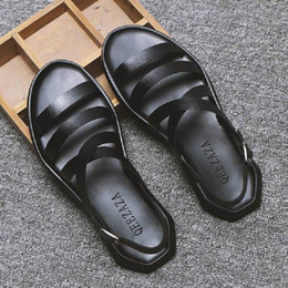 hot mens summer sandal 2019 - ERRFC Summer Hot Selling Mens White Sandals Shoes Rome Gladiator Man Black Breathable Sandbeach Casual Shoes British Zap