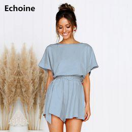 Elegant Jumpsuits Sleeves Australia - Summer Short Sleeve Linen Jumpsuit Woman Lace Up Elegant Romper with Belt Sexy Bodysuit Slim O-neck Playsuit Ladies Overalls