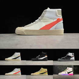 Red casual blazeRs foR men online shopping - New Blazer Mid x Queen Fashion sneakers For Men Off Sports Trainers Rainbow Black White Rice Williams Skateboard Retro Casual woman sh