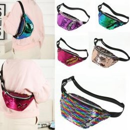 Discount wholesale sequin cosmetic bags - 5styles Sequins Mermaid Waist Bag Belt Fanny Pack Beach Bag Teenager Purses Women Cosmetic Bags outdoor travel bag FFA14