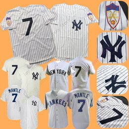 264c76fb3cf Mickey Mantle Jersey MN Yankees 1951 Cooperstown New York Cream White  Pinstripe Grey Black Home Away All Stitched
