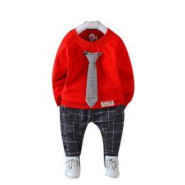 $enCountryForm.capitalKeyWord Australia - 2019 Spring Autumn Baby Infant Set Boys Clothing Cotton Tie T-shirt Lattice Pants 2pcs Sets 0-4 Years Sport Set Kids Tracksuit