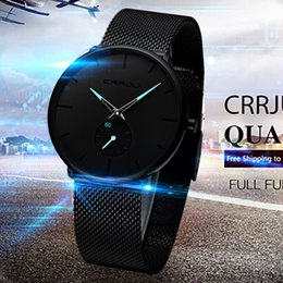 Discount thin wrist watches - Men Wrist watches 30 Meter Waterproofing Super Thin Business Black Leisure male clock mens watch slim relogio masculino