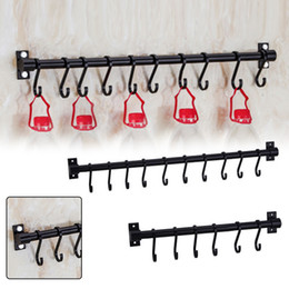 wall mounted utensil rack Australia - Kitchen Bathroom Organizer Storage Space Aluminium Rack Wall Mounted Utensil Hanging Rack Organizer Black For Towel Chest Cup SH190920
