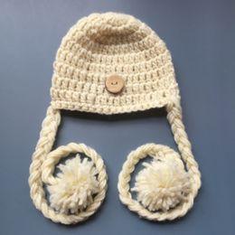 Baby Elf Crochet Australia - Adorable Crochet Baby Elf Hat,Handmade Knit Baby Boy Girl Hat with Braids Pom Pom,Kids Spring Winter Beanie,Infant Newborn Photo Prop