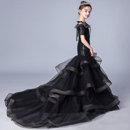 clothes puffy Australia - Black Mermaid Girl Dress Floor Length Kids Ball Gown Baby Lace Prom party Wedding Pageant Puffy Tiered Clothes kids Birthday Bodice Short