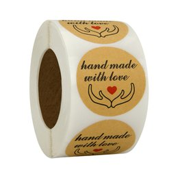 $enCountryForm.capitalKeyWord NZ - 1 inch 2.54cm 1000pcs brown kraft handmade roll adhesive sticker baking box and bag seal sticker gift packing paper label