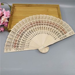 $enCountryForm.capitalKeyWord Australia - 50pcs lot personalized sandalwood folding hand fans with organza bag wedding favours fan party giveaways Free shipping in bulk