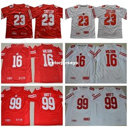 b6dbe9eb187 Mens NCAA Wisconsin Badgers Jonathan Taylor Jersey 16 Russell Wilson 99 JJ  Watt College Football Red White University Jerseys Stiched XS-3XL