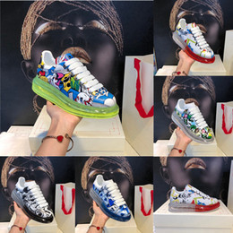 Wholesale black patterned cushion for sale - Group buy 2020 Cushions Graffiti Shoes Pattern Crystal Sole Women Men Leather Platform Flat Rubber Sole Casual Shoe Reflective Vintage Sneakers