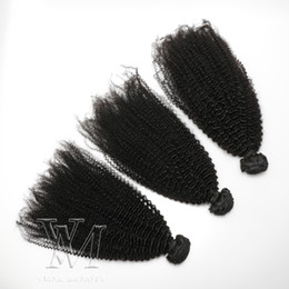 remy human hair bundles Canada - VMAE Mongolian Remy Virgin Hair Afro Kinky Curly Weft 3 Bundles 4A 4B 4C Curly Weaves Human Hair Extensions Black Women