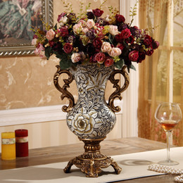 $enCountryForm.capitalKeyWord Australia - European-style new resin binaural vase home hand-painted Vintage carving antique countertop vase decorative ornaments