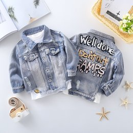 spring boys jackets NZ - Baby Boys Girls Outerwear Coat Girls Hole Denim Jackets Coats 2019 Fashion Spring Children Outwear Kids Denim Jacket