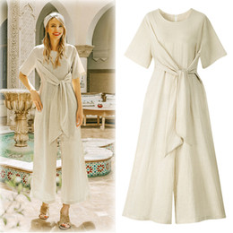 women large jumpsuits rompers 2019 - L-4XL 2019 Summer Women Jumpsuits Plus size Casual Tie up Rompers Large Size Lady Office Fashion Wide Leg Overalls OL Ju