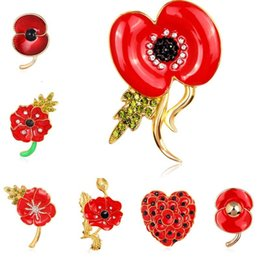british legion poppy brooch 2019 - 28 Types Crystal Heart Flower Poppy Union Jack Brooches Pins The British Legion Brooch Corsages for UK Remembrance Day D