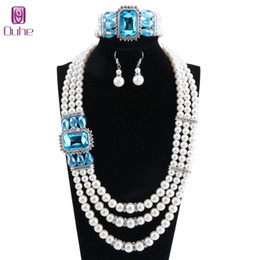 $enCountryForm.capitalKeyWord Australia - Women's 3 Layer Large Simulated Pearl Crystal Statement Necklace Bangle Earrings Strand Costume Jewelry Set