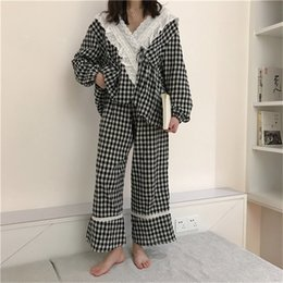 alien suit UK - Alien Kitty 2020 Plaid Lace Gentle Three-piece Suits Chic Women Sweet Fashion Sleepwear Loose Pajamas Suits Fresh Home Clothes Y200425