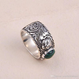 $enCountryForm.capitalKeyWord Australia - Nfn97 Nfn97 S925 pure silver ring with nature malachite and leopard head design for women and man wedding jewelry gift PS5522