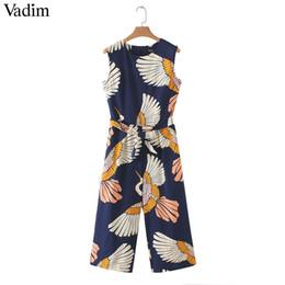 $enCountryForm.capitalKeyWord Australia - Vadim Women Cute Crane Print Jumpsuits Bow Tie Sashes Pockets Sleeveless Pleated Rompers Retro Ladies Casual Jumpsuits Ka140 MX190726