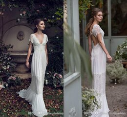short bohemian beach wedding dresses Australia - 2019 New Lace Appliqued A-line Boho Wedding Dress Cheao Pluning Neck Short Sleeves Beach Bohemian Bridal Gown Plus Size