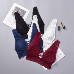 Plus Size Bra Straps Australia - Deep V Lace Bralette Plus Size Bra Women Seamless Padded Push Up Plunge Bra Wire Free Sexy Lingerie Underwear Women
