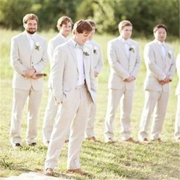 $enCountryForm.capitalKeyWord Australia - Summer Beach Beige Linen Men Suits For Wedding Suits Groom Wear Custom Made Bridegroom Slim Fit Casual Tuxedos Best Man Blazer Jacket+Pants