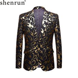 $enCountryForm.capitalKeyWord Australia - SHENRUN Tide Male DJ Club Gold Floral Pattern Blazer Plus Size 5XL Fahsion Casual Singer Party Costume Slim Fit Suit Jacket Men